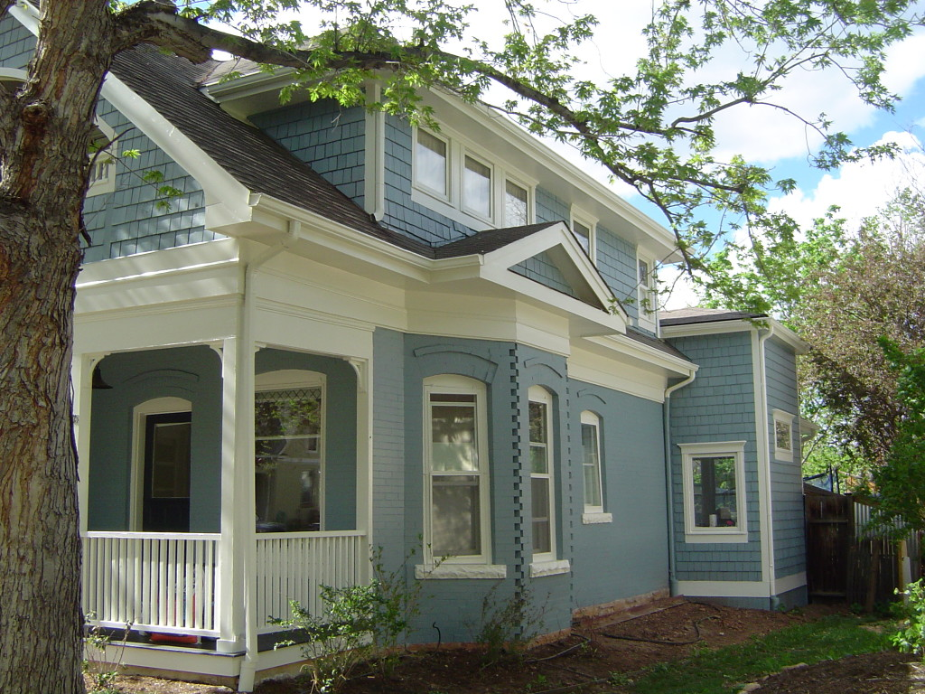 Great exterior re paint on newly updated historic home in downtown boulder maurerpainting for Exterior paint houses