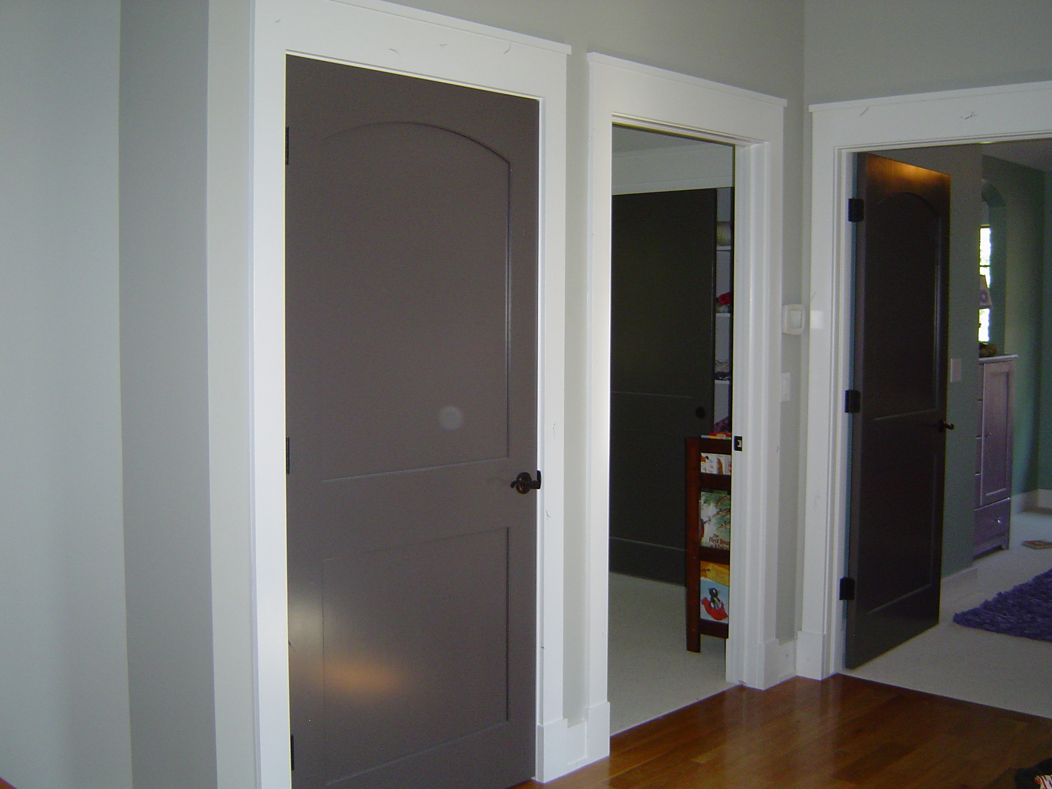 Wow quality result on this complete interior re paint for Wood doors painted trim